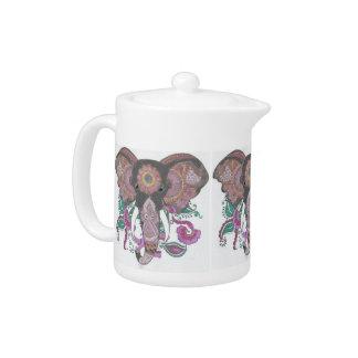 Hand-Colored Elephant Design Teapot