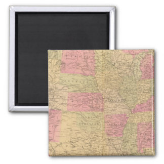 Hand colored lithographed map of the United States 2 Inch Square Magnet