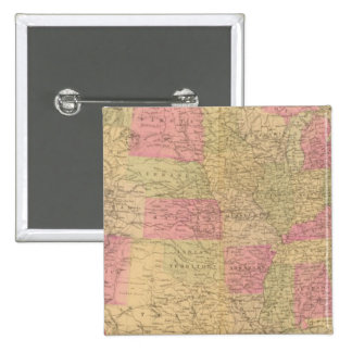 Hand colored lithographed map of the United States Button