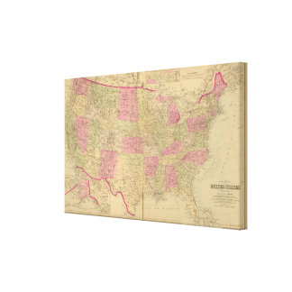 Hand colored lithographed map of the United States Canvas Print