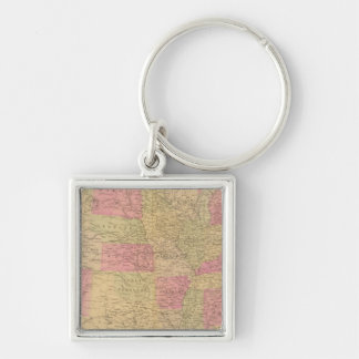 Hand colored lithographed map of the United States Keychain