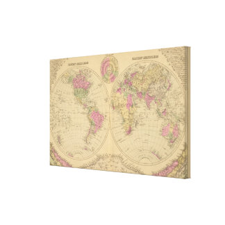 Hand colored lithographed map of the World Canvas Print
