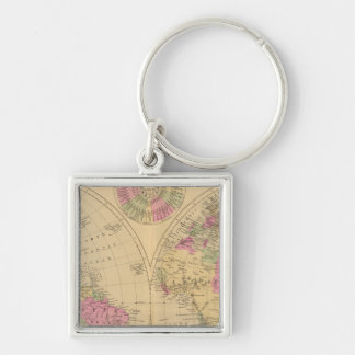 Hand colored lithographed map of the World Key Chain