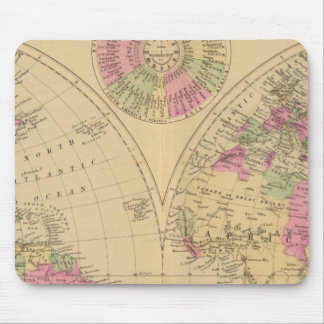 Hand colored lithographed map of the World Mouse Pad