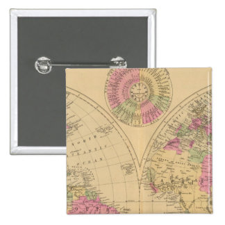 Hand colored lithographed map of the World Pinback Button