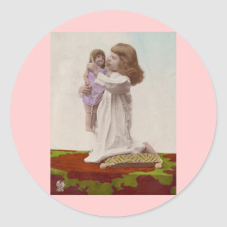 Hand Colored Little Girl and Her Doll Vintage Round Sticker