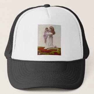 Hand Colored Little Girl and Her Doll Vintage Trucker Hat