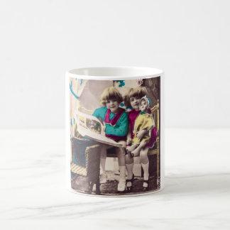 Hand Colored Little Girls Reading Vintage Coffee Mug