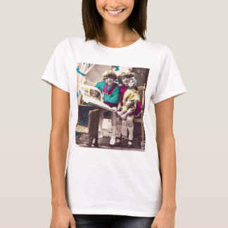 Hand Colored Little Girls Reading Vintage T-Shirt