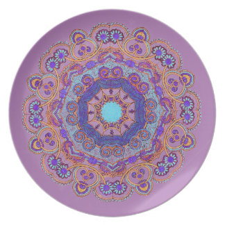 Hand-Colored Mandala 11 Melamine Plate