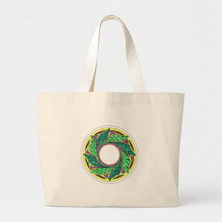 Hand colored Victorian Era Leaves in a circle Large Tote Bag