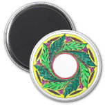 Hand colored Victorian Era Leaves in a circle Fridge Magnets