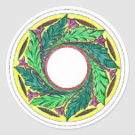 Hand colored Victorian Era Leaves in a circle Stickers
