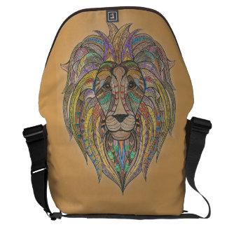 Hand-ColoredLion Large Messenger Bag Outside Print