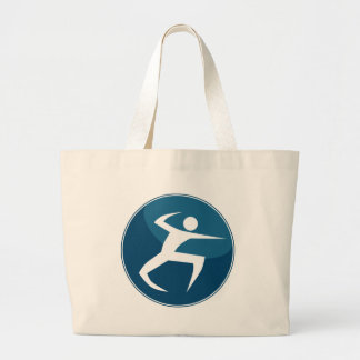 Hand Combat Stick Figure Action Hero Blue Icon Large Tote Bag