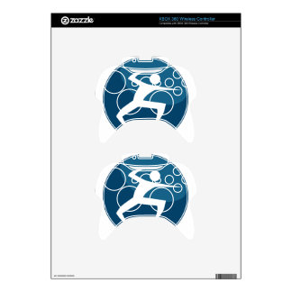 Hand Combat Stick Figure Action Hero Blue Icon Xbox 360 Controller Decal