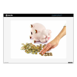 "Hand counting euro coins from piggy bank decals for 15"" laptops"