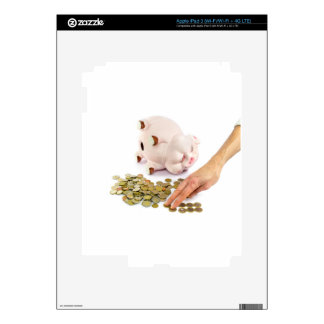 Hand counting euro coins from piggy bank iPad 3 decals