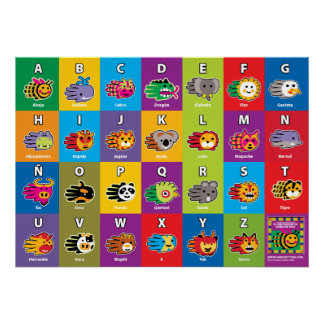 Hand Critter Spanish ABC Alphabet for Kids Poster