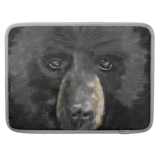 Hand darwn Black bear face. Sleeves For MacBook Pro