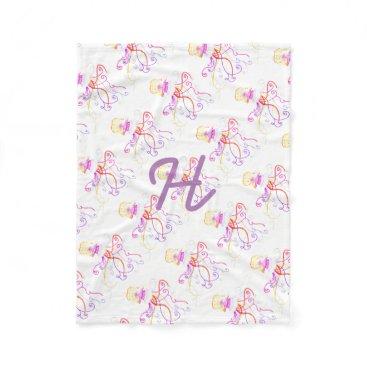 Beach Themed Hand Designed Jellyfish Fleece Blanket