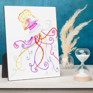 Hand Designed Jellyfish Print w/ Easel Plaque