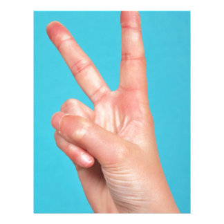 Hand  doing peace signs letterhead