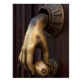 Hand door knocker close-up, Mexico Postcard