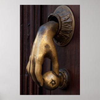 Hand door knocker close-up, Mexico Poster