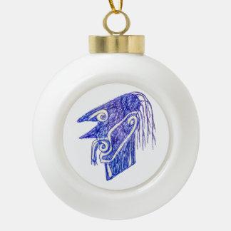 Hand Draw Monster Portrait Ilustration Ceramic Ball Christmas Ornament