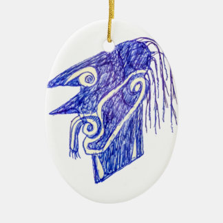 Hand Draw Monster Portrait Ilustration Ceramic Ornament