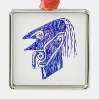 Hand Draw Monster Portrait Ilustration Metal Ornament
