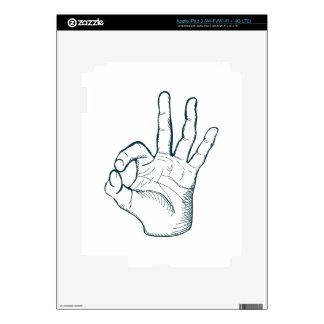 Hand draw sketch vintage okay hand sign iPad 3 decal