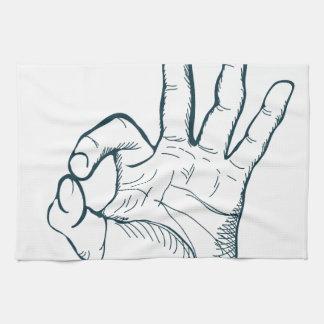Hand draw sketch vintage okay hand sign kitchen towel