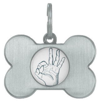 Hand draw sketch vintage okay hand sign pet tag