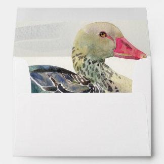 Hand Draw Watercolor Bird, Duck Envelope