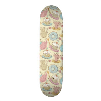 Hand Drawing Dishes Silhouettes Skateboard Deck