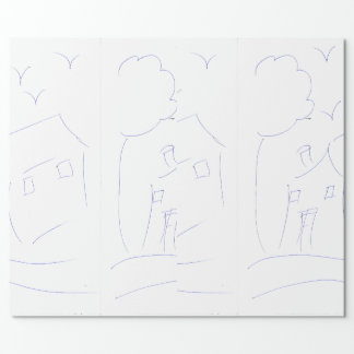 HAND DRAWING HOUSE WRAPPING PAPER