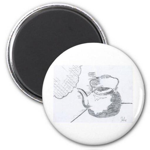 Hand Drawing Teapot Still Life Gear Refrigerator Magnet