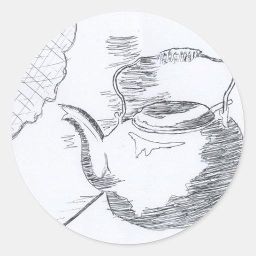 Hand Drawing Teapot Still Life Gear Classic Round Sticker