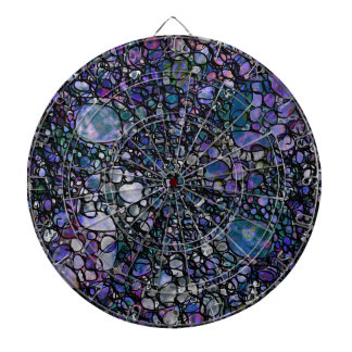 Hand-Drawn Abstract Circles, Blue, Purple, Black Dartboard With Darts