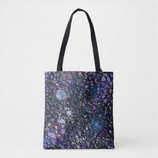 Hand-Drawn Abstract Circles, Blue, Purple, Black Tote Bag