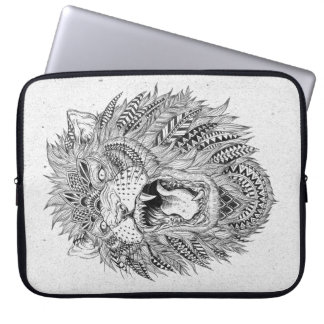 Hand Drawn Abstract Lion Laptop Sleeve