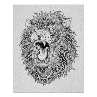Hand Drawn Abstract Lion Vector Illustration Poster