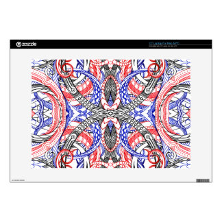 Hand Drawn Abstract Red White Blue Line Art Doodle Decals For Laptops