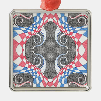 Hand Drawn Abstract Red White Blue Line Art Doodle Metal Ornament