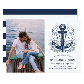 Hand Drawn Anchor Photo Save the Date Card
