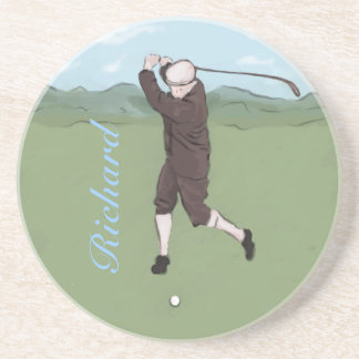 Hand drawn and painted golfer drink coaster
