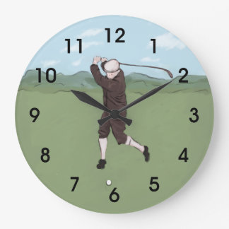 Hand drawn and painted golfer large clock