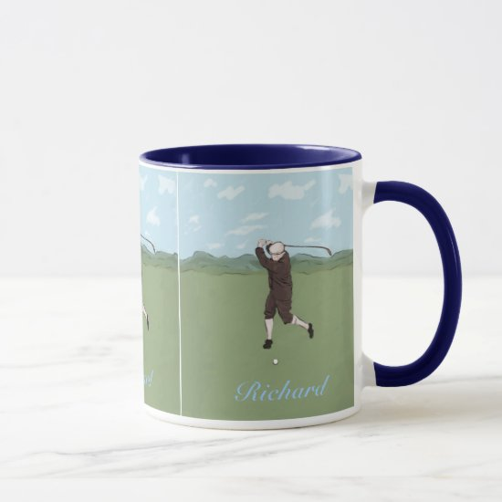 Hand drawn and painted golfer mug